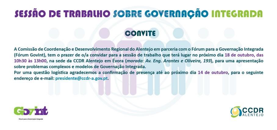 SESSÃO DE TRABALHO SOBRE GOVERNAÇÃO INTEGRADA - Convite