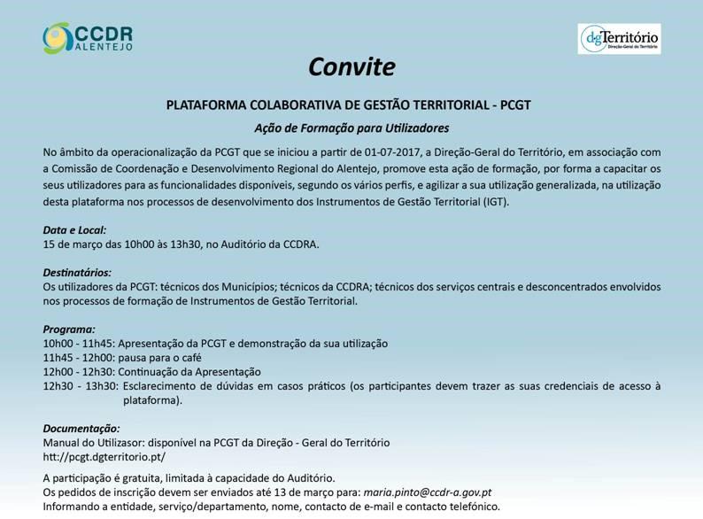 Convite - Plataforma Colaborativa de Gestão Territorial