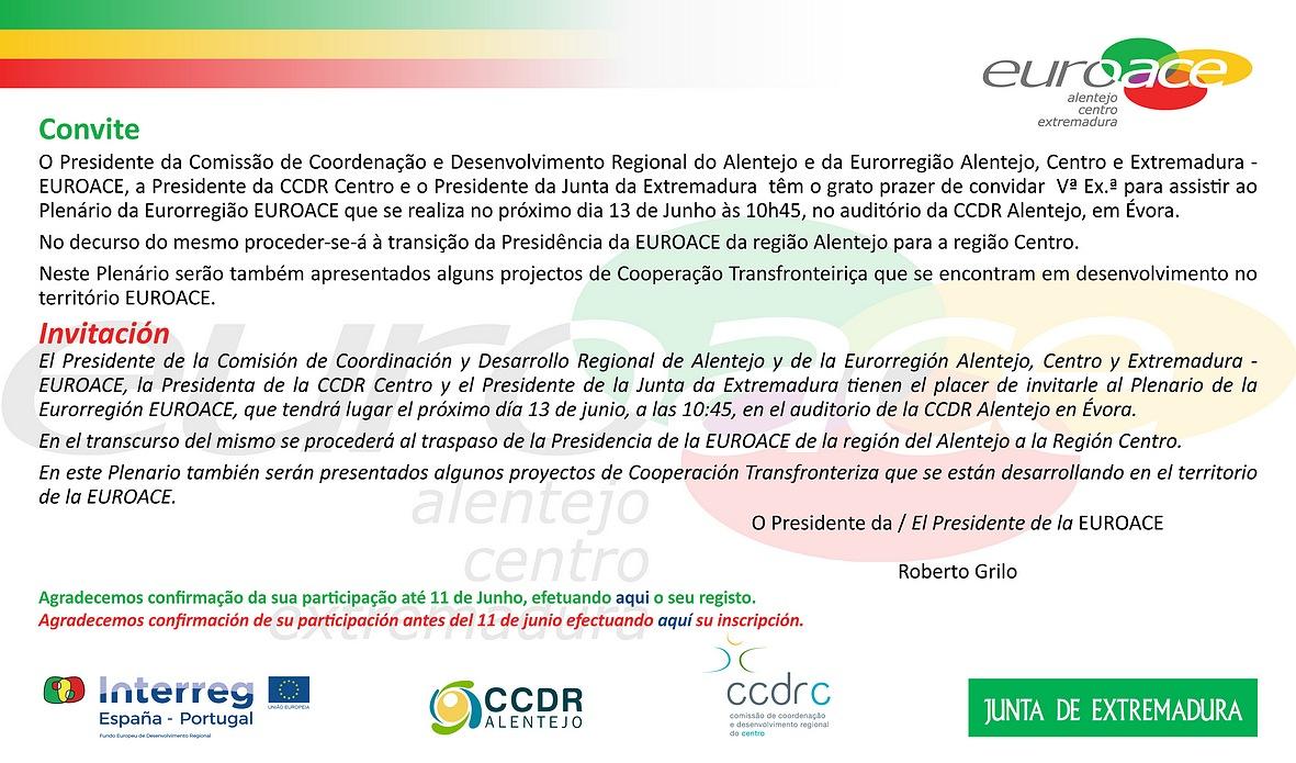 Plenário EUROACE, 13 de junho, CCDR Alentejo
