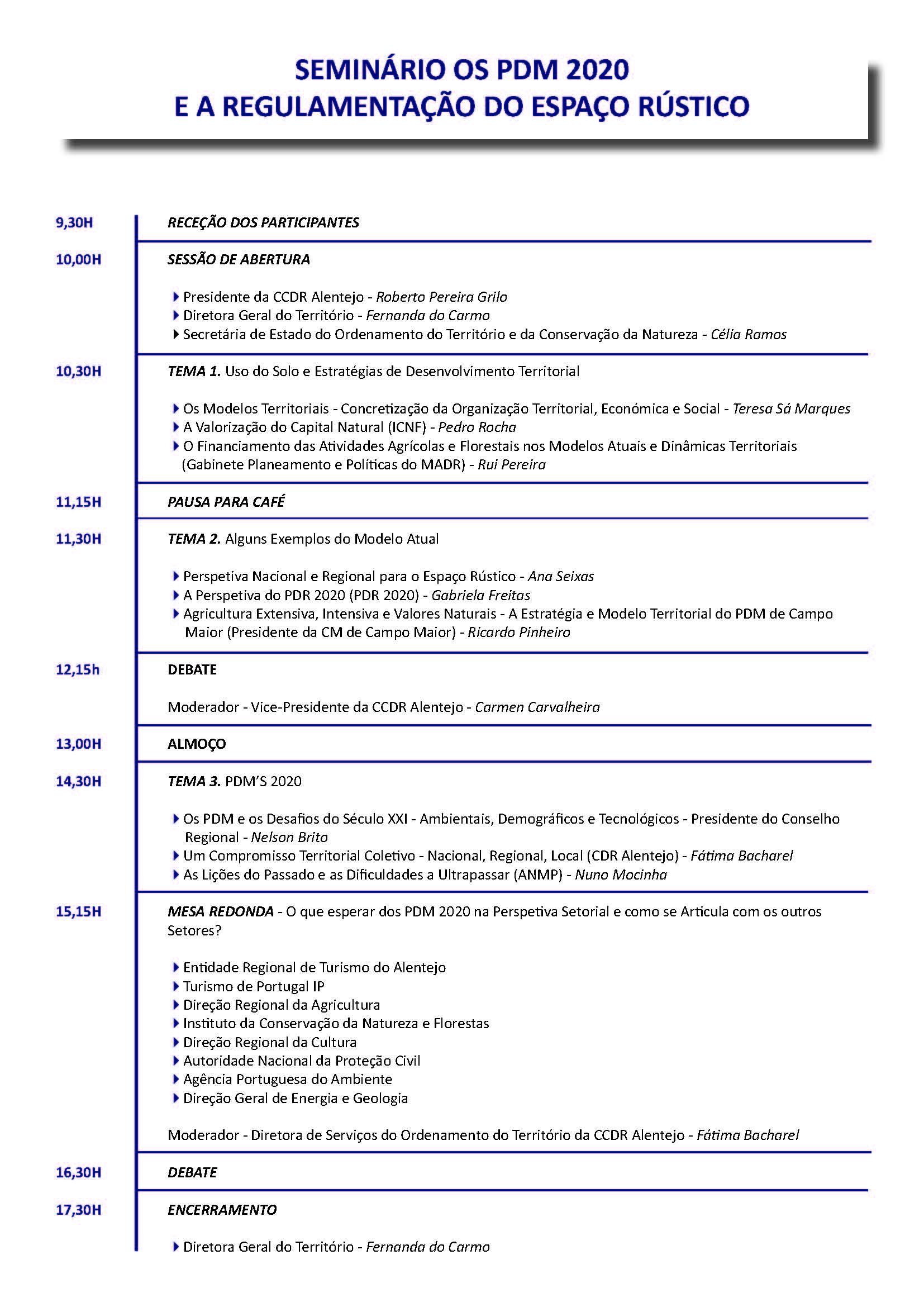 Programa - Seminário PDM2020 - A Regulamentação do Espaço Rústico