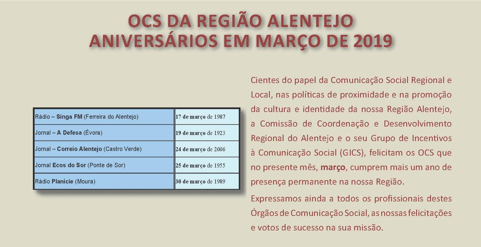 Aniversário em março 2019 OCS da Região Alentejo