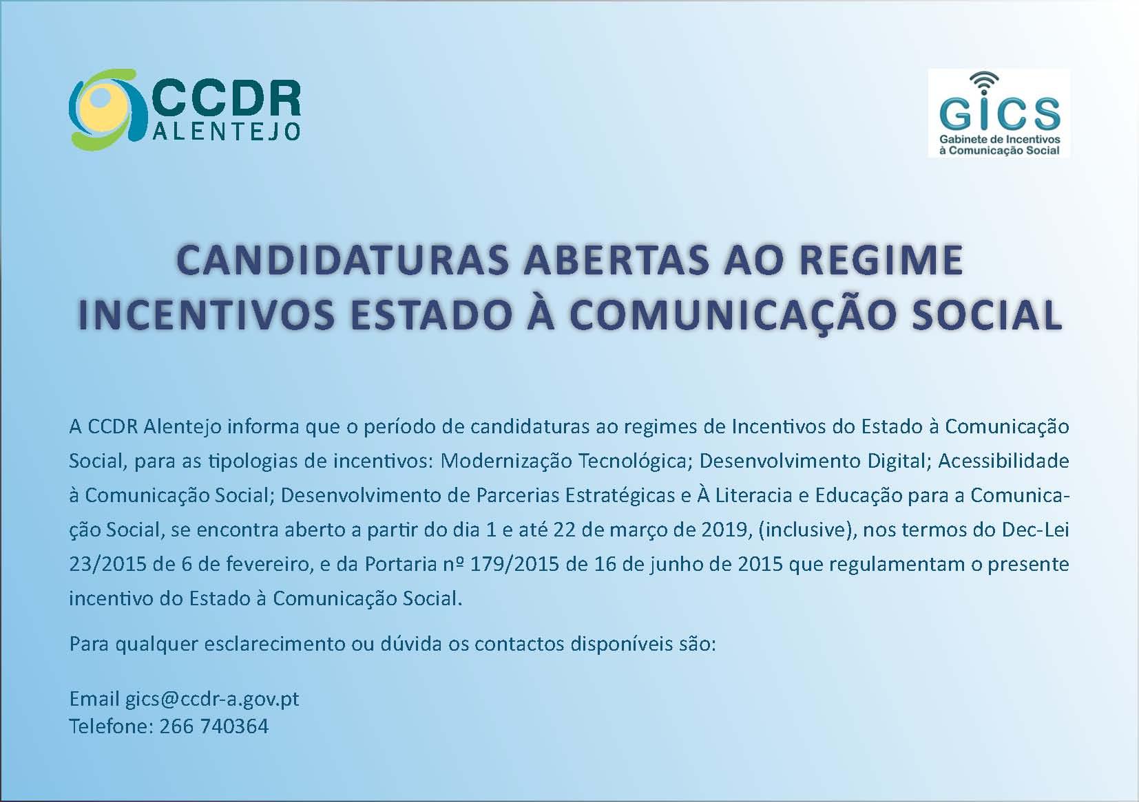 Candidaturas abertas ao Regime de Incentivos do Estado à Comunicação Social