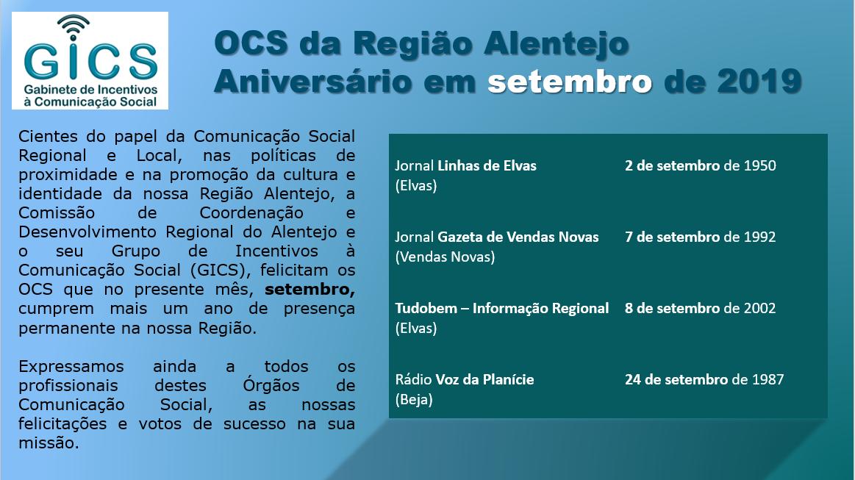Aniversário em setembro 2019 OCS da Região Alentejo