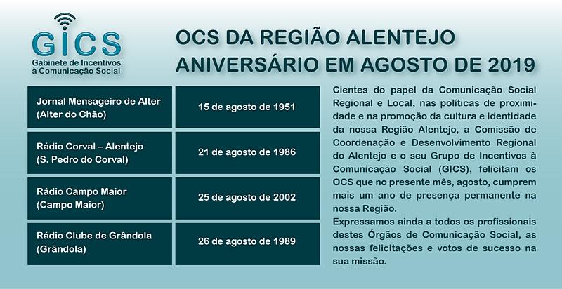 Aniversário em agosto 2019 OCS da Região Alentejo