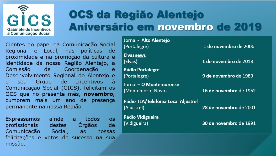 Aniversário em novembro 2019 OCS da Região Alentejo
