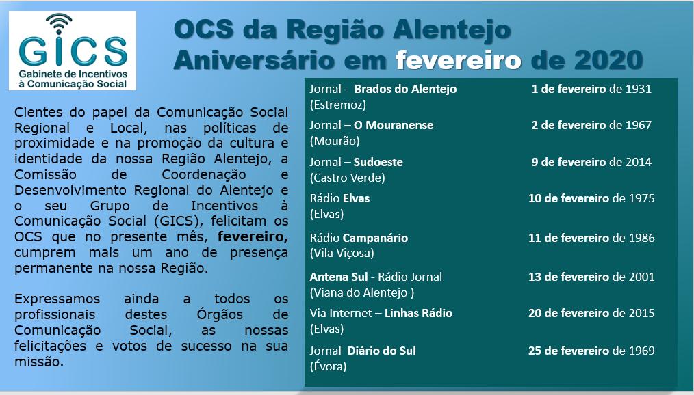 Aniversário em fevereiro 2020 OCS da Região Alentejo