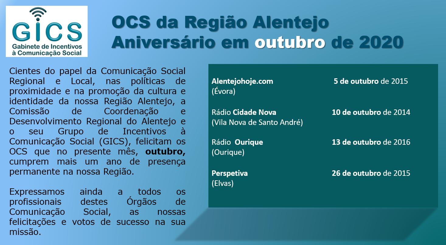 Aniversário em outubro 2020 OCS da Região Alentejo