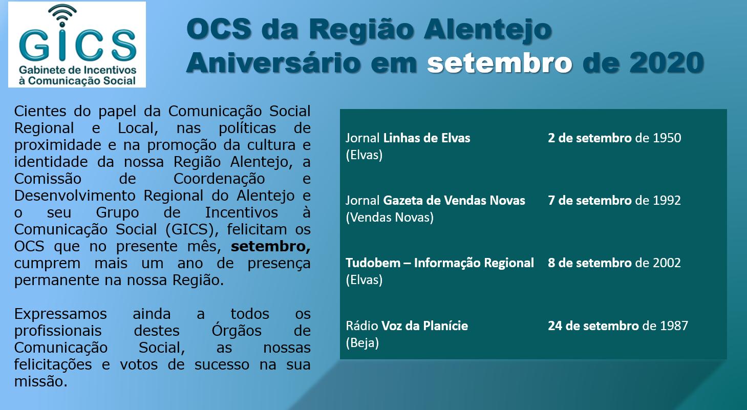 Aniversário em agosto 2020 OCS da Região Alentejo