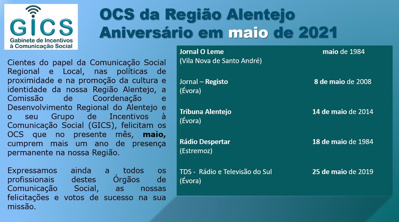 Aniversário em maio 2021 OCS da Região Alentejo